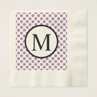 Simple Monogram with Lavender Polka Dots Disposable Napkins
