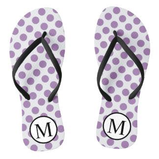 Simple Monogram with Lavender Polka Dots Flip Flops