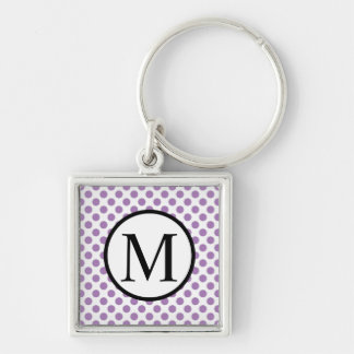 Simple Monogram with Lavender Polka Dots Keychain
