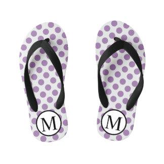 Simple Monogram with Lavender Polka Dots Kid's Flip Flops