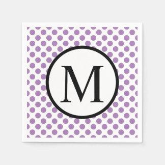 Simple Monogram with Lavender Polka Dots Paper Napkin