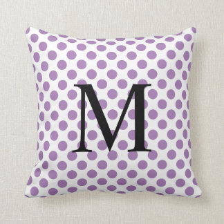 Simple Monogram with Lavender Polka Dots Throw Pillow
