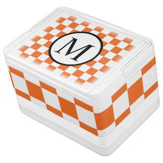 Simple Monogram with Orange Checkerboard