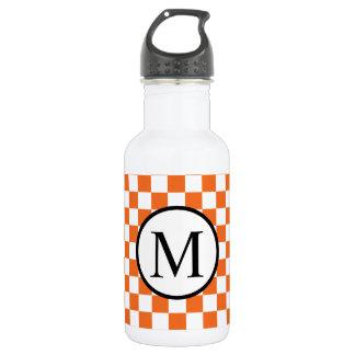 Simple Monogram with Orange Checkerboard 532 Ml Water Bottle