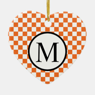 Simple Monogram with Orange Checkerboard Ceramic Heart Ornament