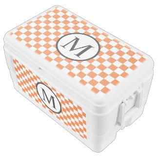 Simple Monogram with Orange Checkerboard Cooler