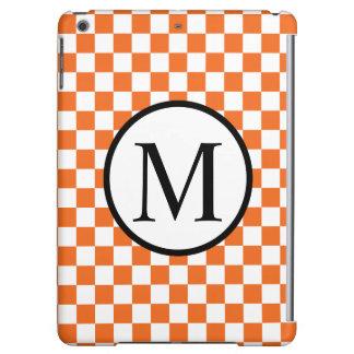 Simple Monogram with Orange Checkerboard iPad Air Covers
