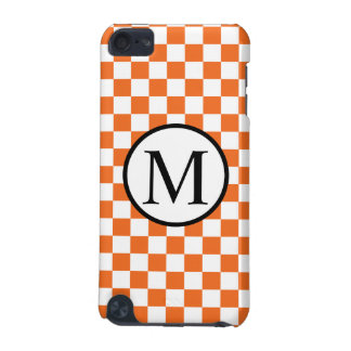 Simple Monogram with Orange Checkerboard iPod Touch (5th Generation) Cover