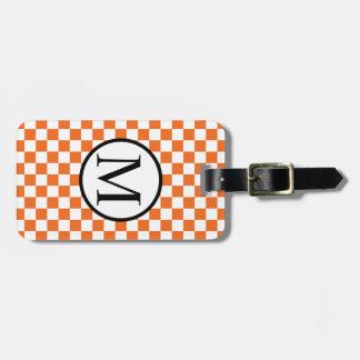 Simple Monogram with Orange Checkerboard Luggage Tag