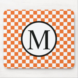 Simple Monogram with Orange Checkerboard Mouse Pad