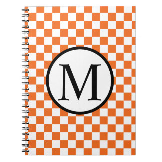 Simple Monogram with Orange Checkerboard Notebooks