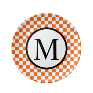 Simple Monogram with Orange Checkerboard Plate