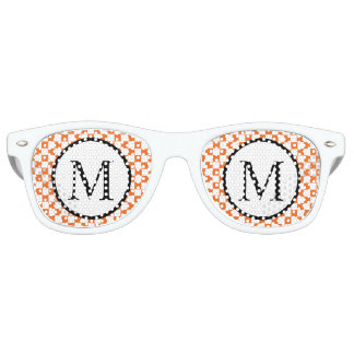 Simple Monogram with Orange Checkerboard Retro Sunglasses