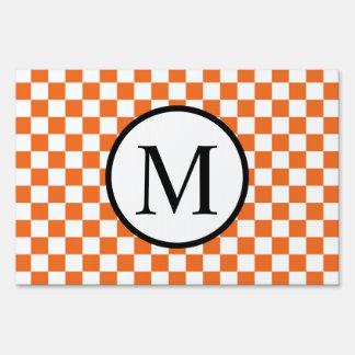 Simple Monogram with Orange Checkerboard Sign