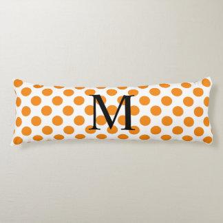Simple Monogram with Orange Polka Dots Body Pillow