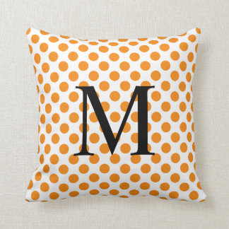 Simple Monogram with Orange Polka Dots Throw Pillow