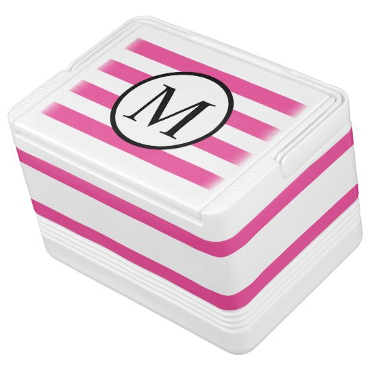 Simple Monogram with Pink Horizontal Stripes
