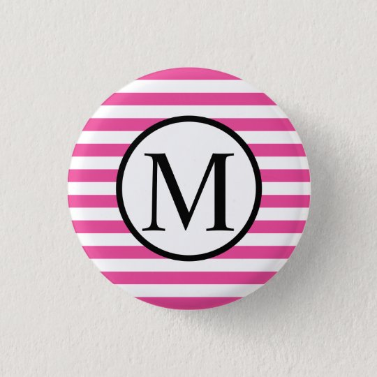 Simple Monogram with Pink Horizontal Stripes 1 Inch Round Button