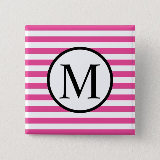 Simple Monogram with Pink Horizontal Stripes 2 Inch Square Button