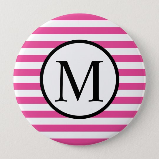 Simple Monogram with Pink Horizontal Stripes 4 Inch Round Button