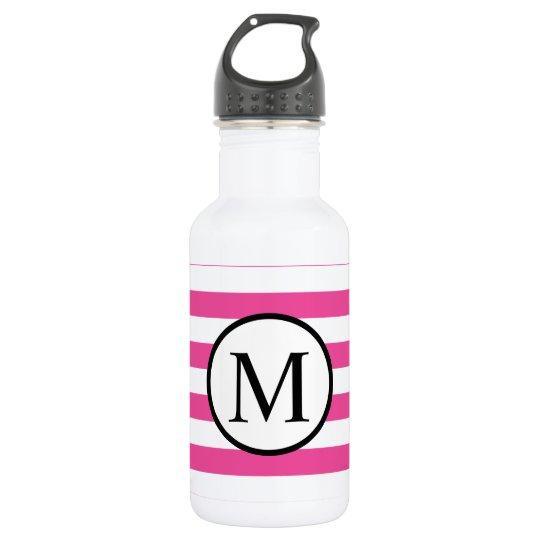 Simple Monogram with Pink Horizontal Stripes 532 Ml Water Bottle
