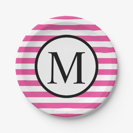Simple Monogram with Pink Horizontal Stripes 7 Inch Paper Plate