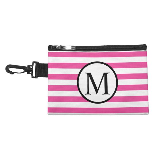 Simple Monogram with Pink Horizontal Stripes Accessory Bag