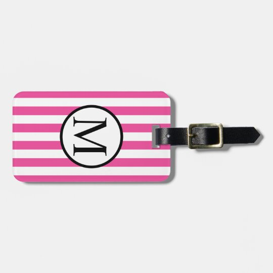 Simple Monogram with Pink Horizontal Stripes Bag Tag