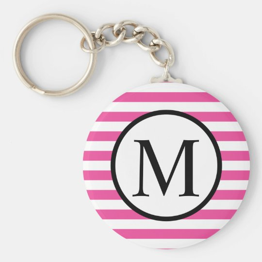 Simple Monogram with Pink Horizontal Stripes Basic Round Button Keychain