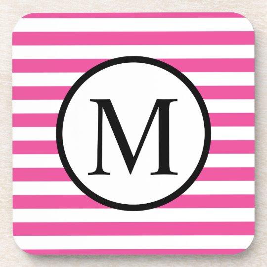 Simple Monogram with Pink Horizontal Stripes Beverage Coaster