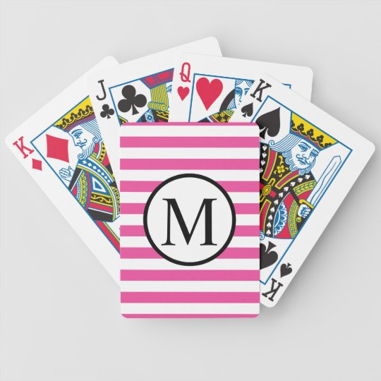 Simple Monogram with Pink Horizontal Stripes Bicycle Playing Cards