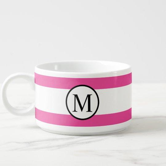 Simple Monogram with Pink Horizontal Stripes Bowl