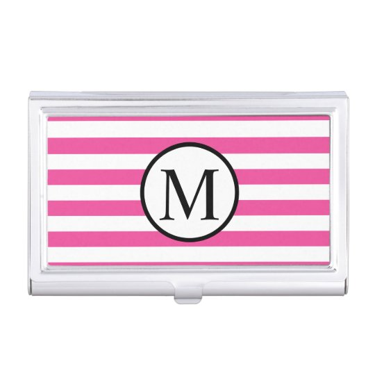 Simple Monogram with Pink Horizontal Stripes Business Card Holder