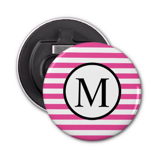 Simple Monogram with Pink Horizontal Stripes Button Bottle Opener