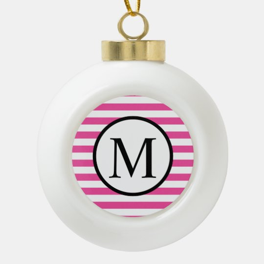 Simple Monogram with Pink Horizontal Stripes Ceramic Ball Christmas Ornament