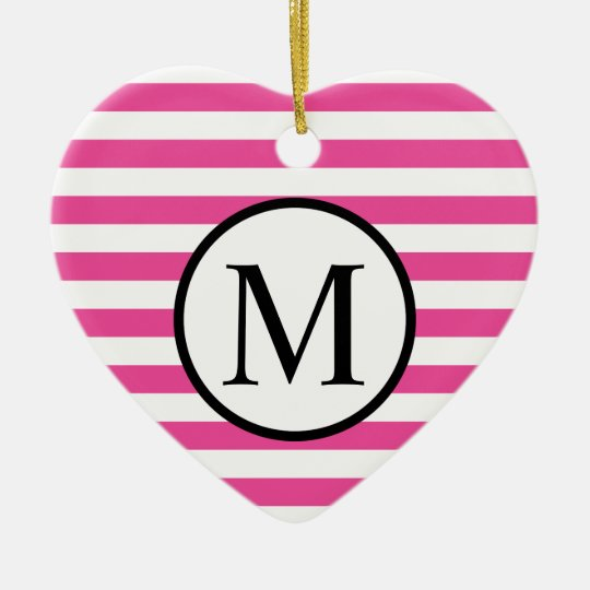Simple Monogram with Pink Horizontal Stripes Ceramic Heart Ornament
