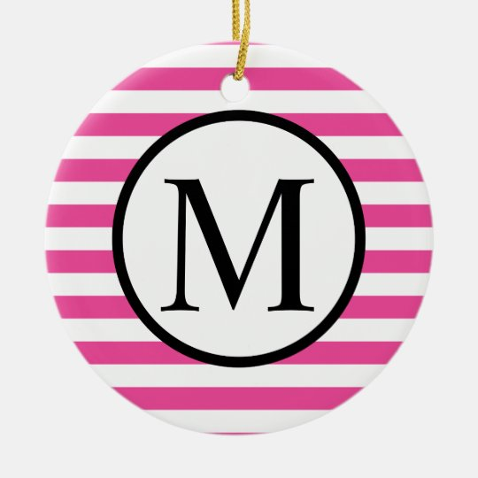 Simple Monogram with Pink Horizontal Stripes Ceramic Ornament