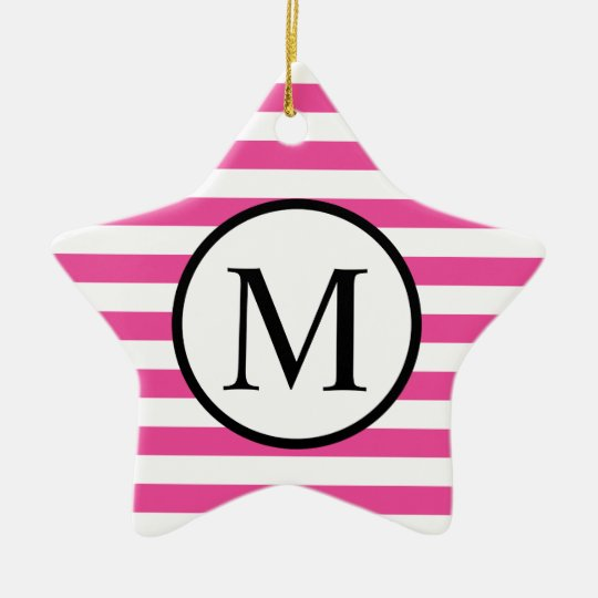 Simple Monogram with Pink Horizontal Stripes Ceramic Star Ornament