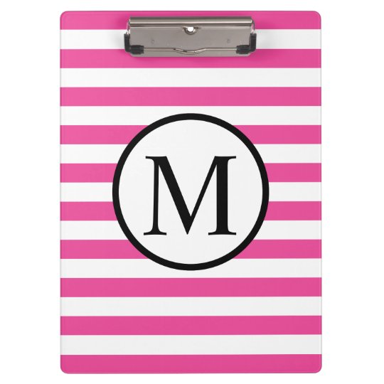 Simple Monogram with Pink Horizontal Stripes Clipboard