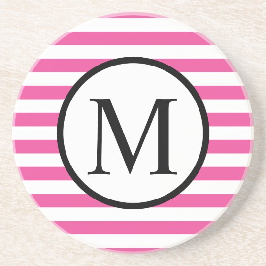 Simple Monogram with Pink Horizontal Stripes Coaster