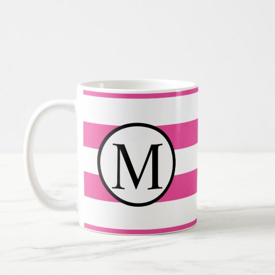 Simple Monogram with Pink Horizontal Stripes Coffee Mug