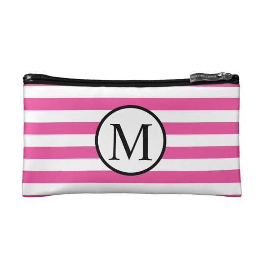 Simple Monogram with Pink Horizontal Stripes Cosmetic Bag