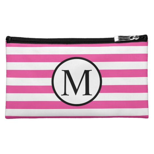 Simple Monogram with Pink Horizontal Stripes Cosmetics Bags