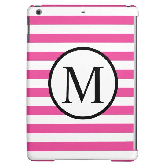 Simple Monogram with Pink Horizontal Stripes Cover For iPad Air