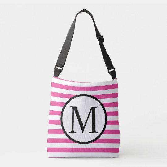 Simple Monogram with Pink Horizontal Stripes Crossbody Bag