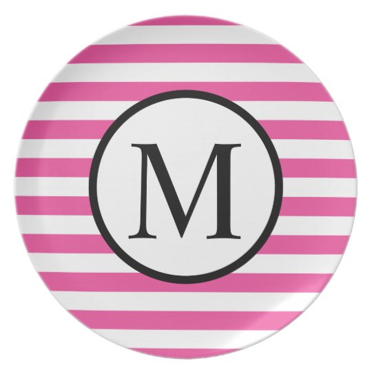 Simple Monogram with Pink Horizontal Stripes Dinner Plate