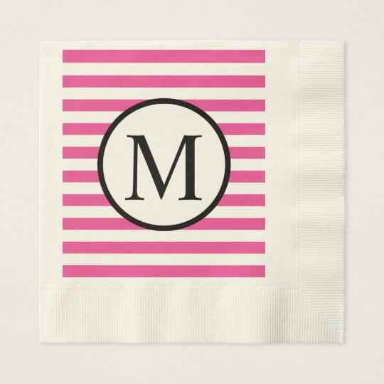 Simple Monogram with Pink Horizontal Stripes Disposable Napkins