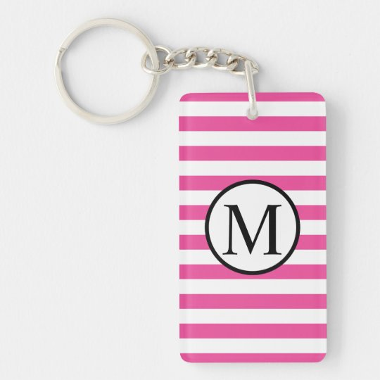 Simple Monogram with Pink Horizontal Stripes Double-Sided Rectangular Acrylic Keychain