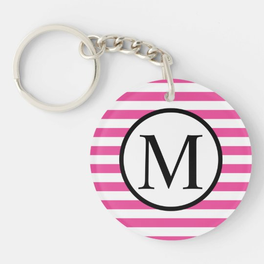 Simple Monogram with Pink Horizontal Stripes Double-Sided Round Acrylic Keychain