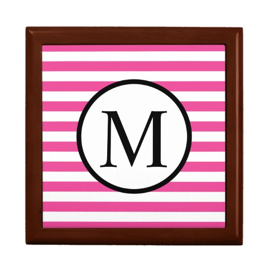 Simple Monogram with Pink Horizontal Stripes Gift Box